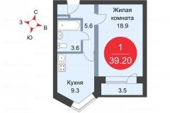 Центр -2. Ремонт 1-комнатной квартиры plan